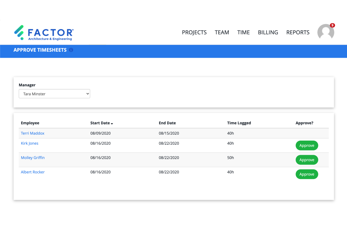 Factor Timesheet Approval Page Updates