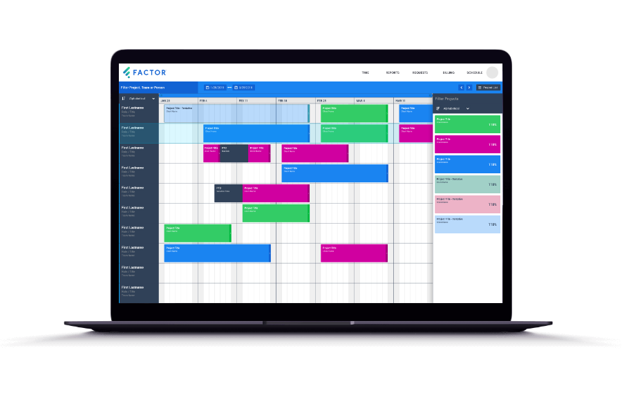 Factor Team Schedule on Laptop