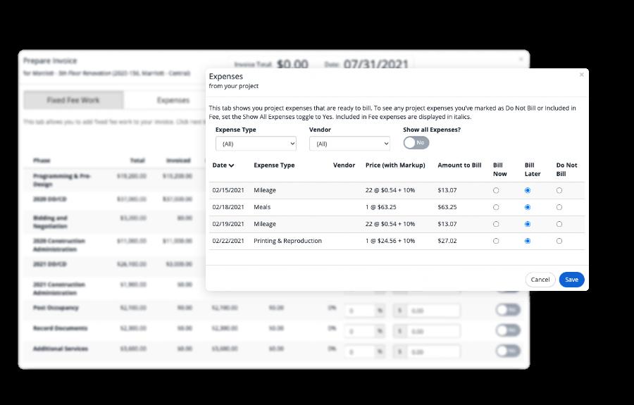 screens for preparing invoices