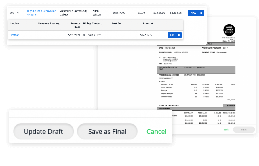 approving draft invoices