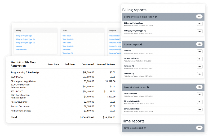 screens showing reporting options