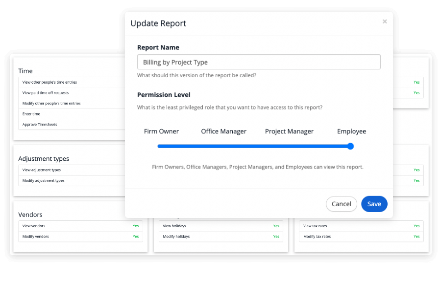 security options for reports