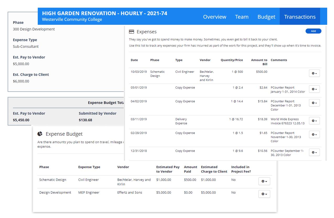 Sub Consultant Expense Budget