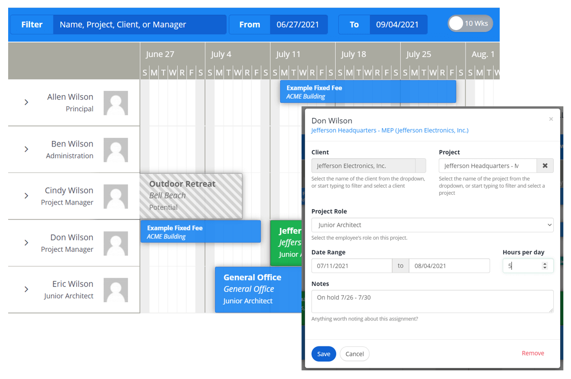 View Gaps in Work With Team Schedule