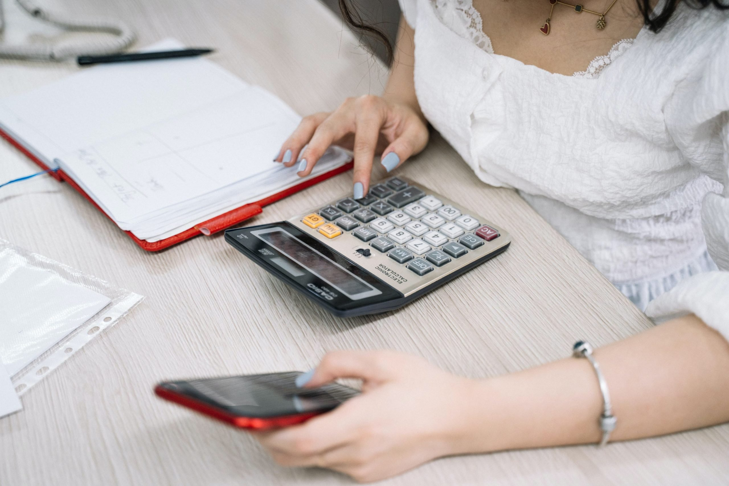 a person calculating payroll